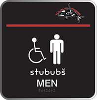 Image of the sign for the Men's room in the Lushootseed language